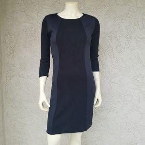 Calvin Klein Black Mixed Media Knit Illusion Dress